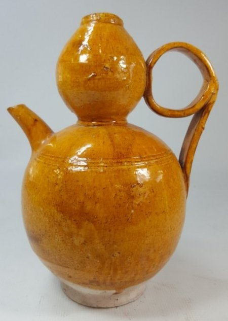 Chinese yellow hoist water kettle Liao dynasty