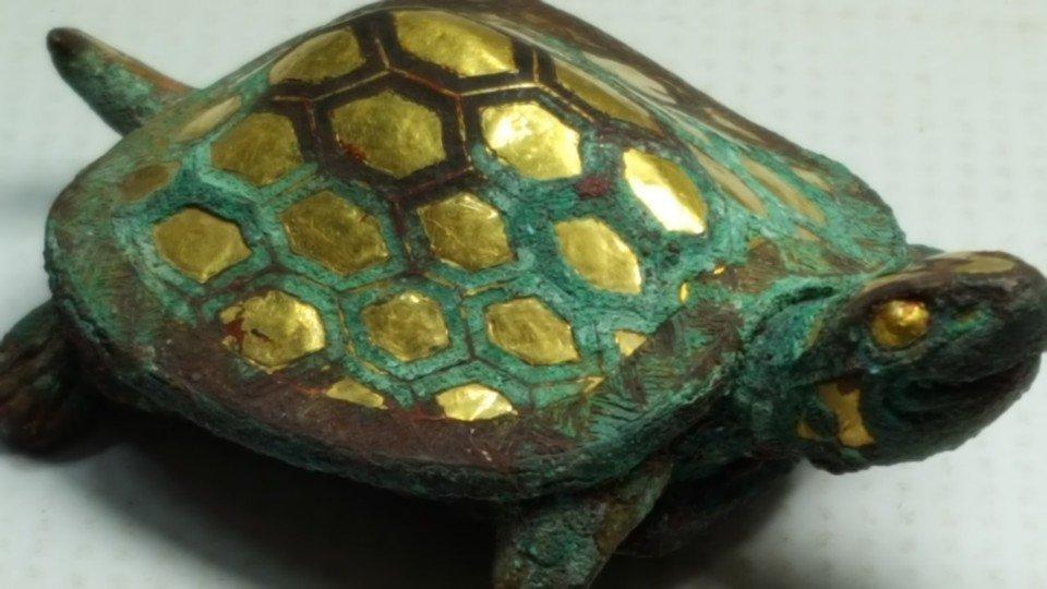 Chinese Gilt Gold Turtle Figurine - 6