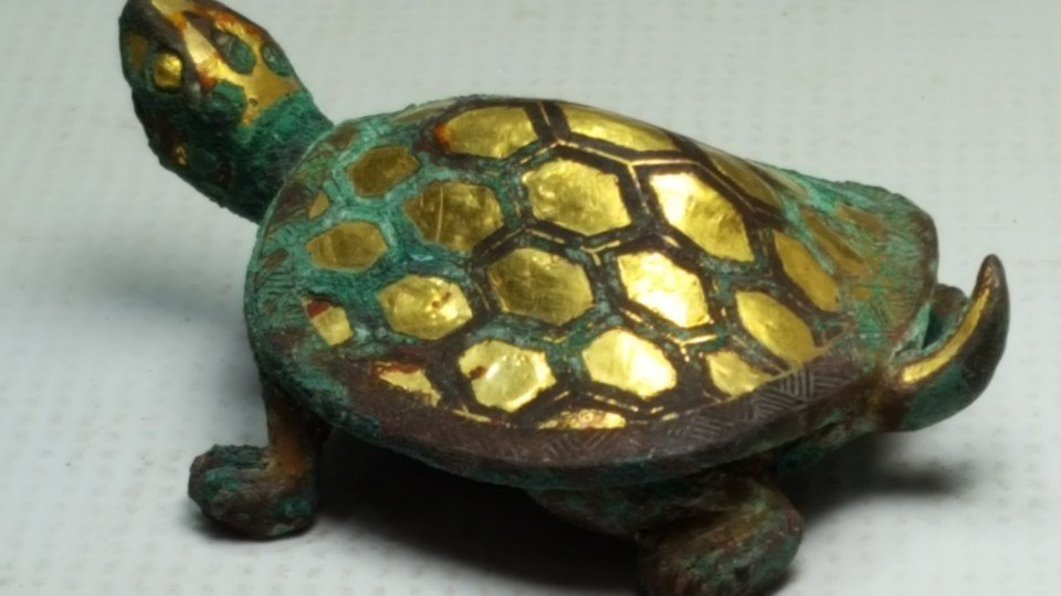 Chinese Gilt Gold Turtle Figurine - 7