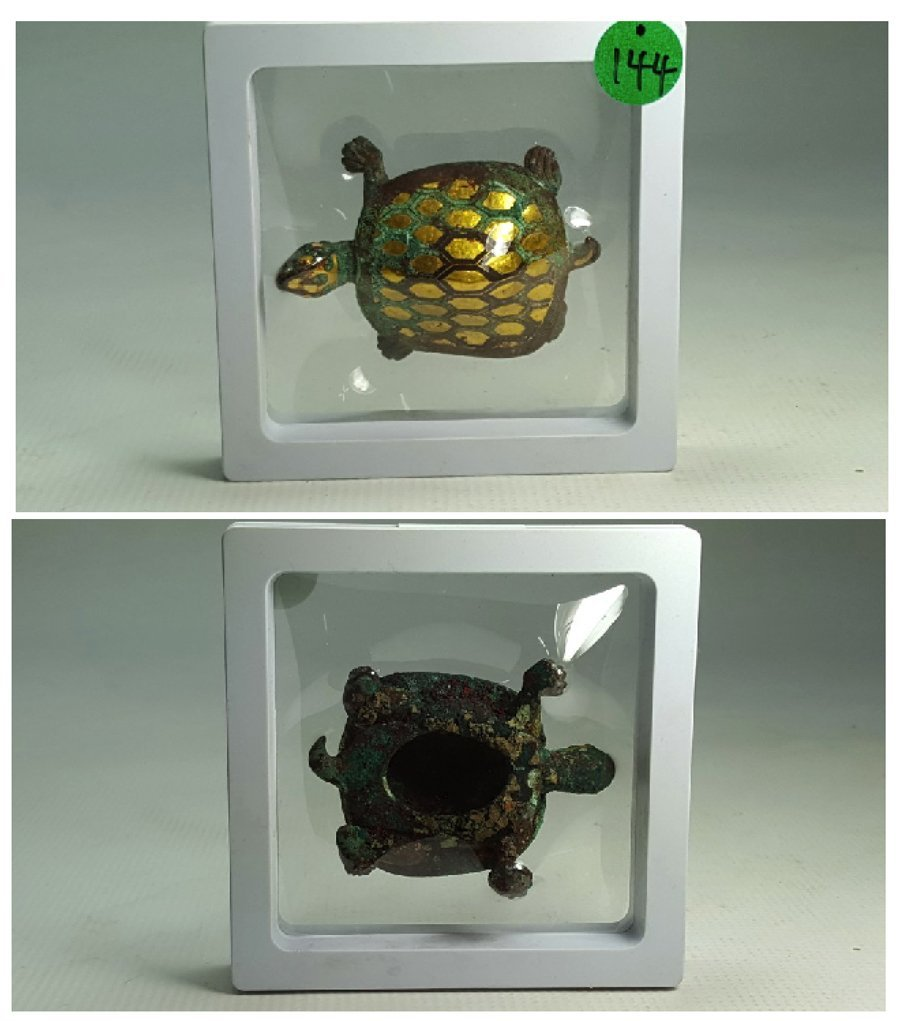 Chinese Gilt Gold Turtle Figurine - 9