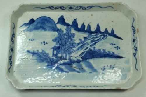 Chinese Blue and White Porcelain Landscape Flower Plate