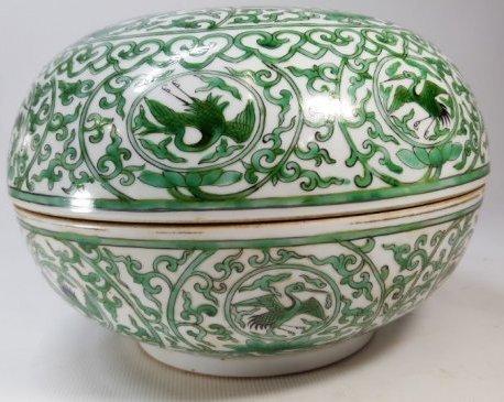 Chinese Porcelain Lidded Box Imitated Bird Pattern