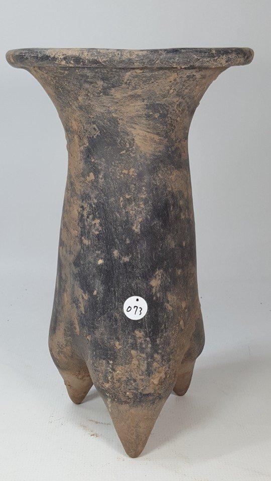 Chinese three legged unglazed pottery