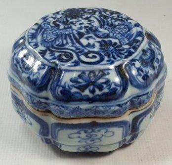 Chinese Blue and White Phoenix Porcelain Lidded Box