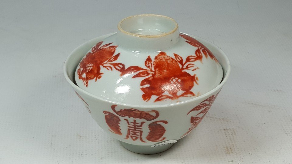 Chinese red and white porcelain tea cup with lid - 10