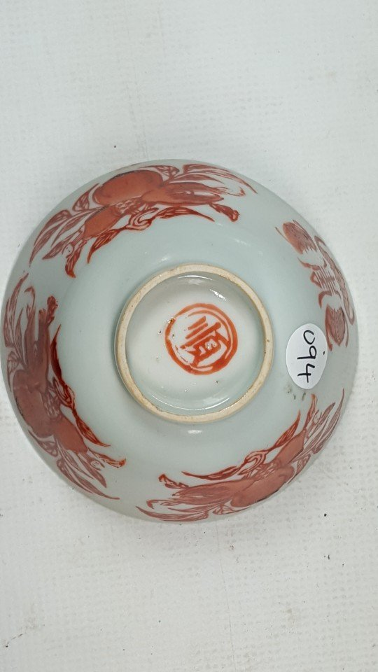 Chinese red and white porcelain tea cup with lid - 4