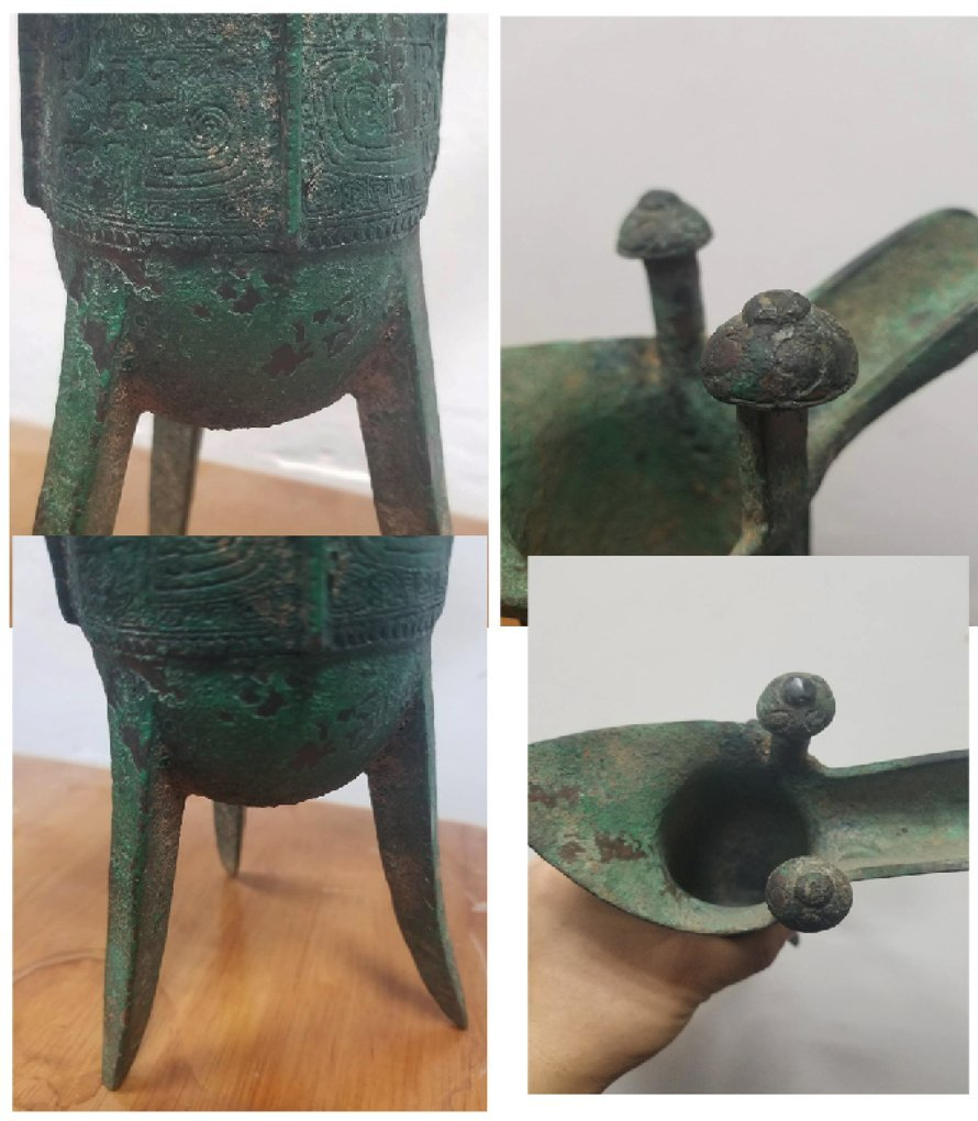 Chinese bronze 3 legged cup from Shang dynasty - 8