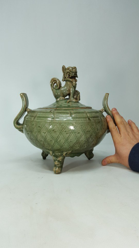 Chinese Porcelain Incense Burner Animal Detailed Lid - 10