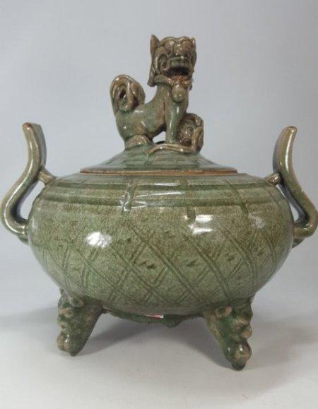 Chinese Porcelain Incense Burner Animal Detailed Lid