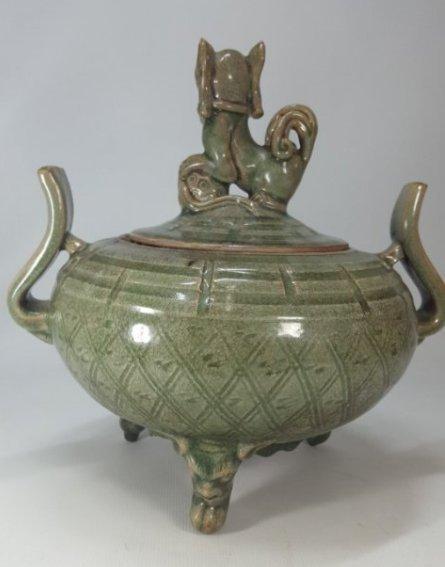 Chinese Porcelain Incense Burner Animal Detailed Lid - 2