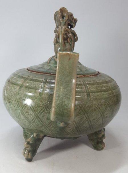Chinese Porcelain Incense Burner Animal Detailed Lid - 4