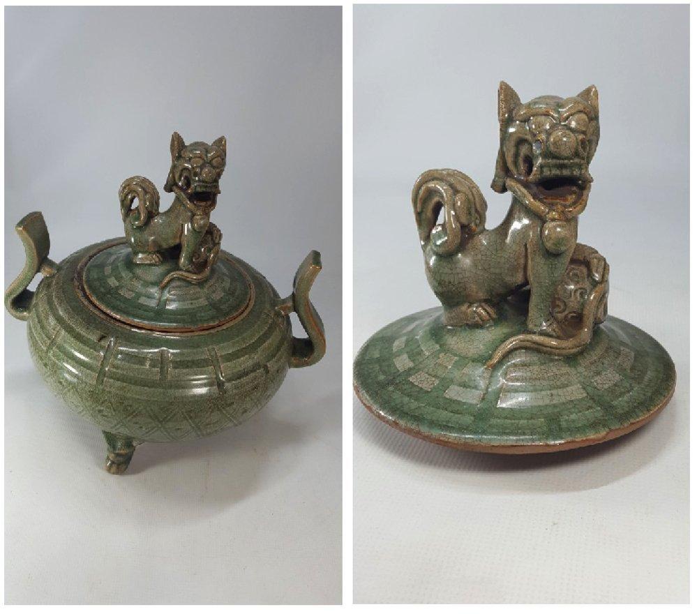 Chinese Porcelain Incense Burner Animal Detailed Lid - 6