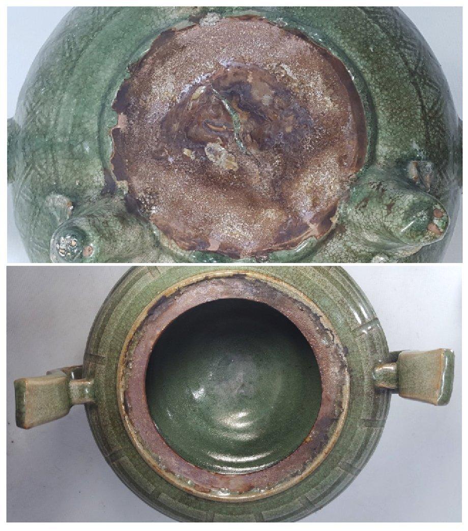 Chinese Porcelain Incense Burner Animal Detailed Lid - 7