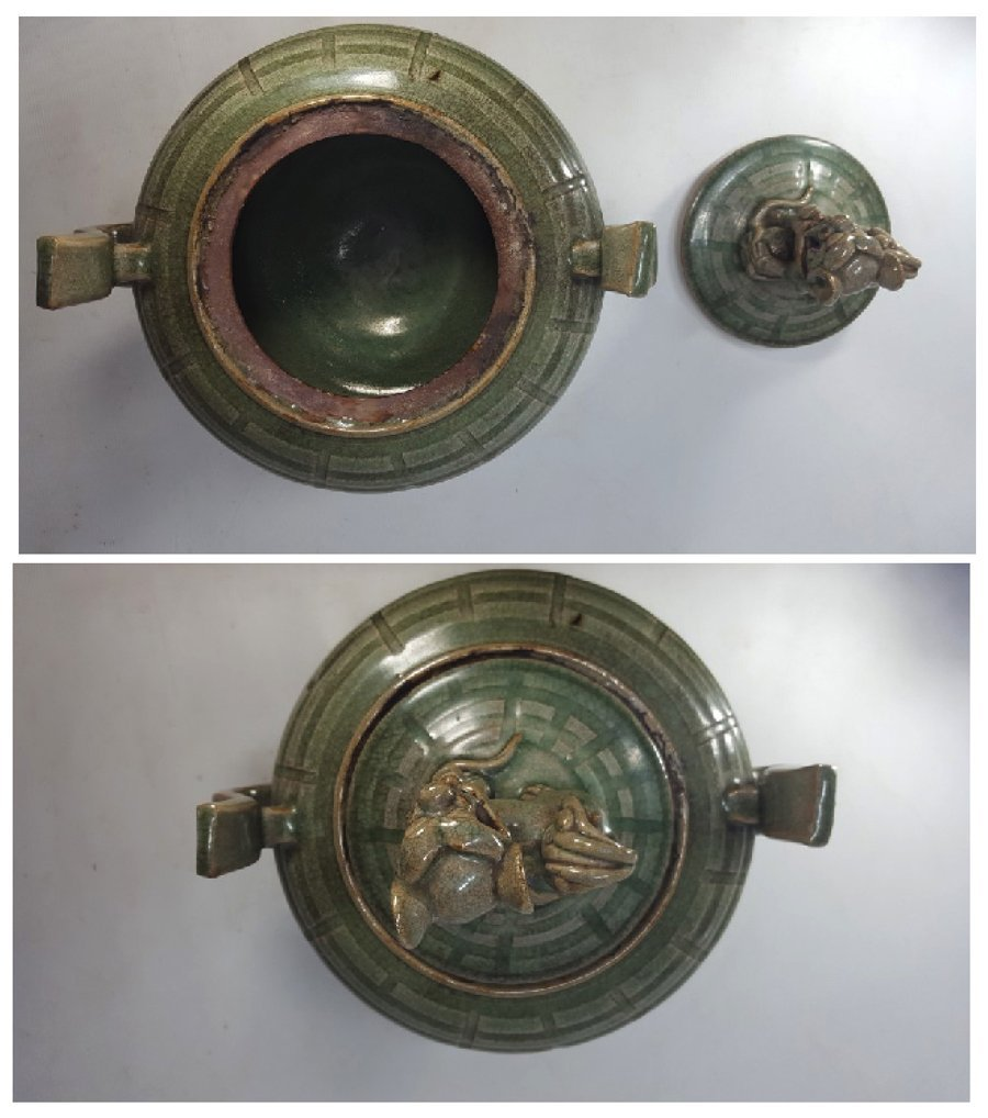 Chinese Porcelain Incense Burner Animal Detailed Lid - 8