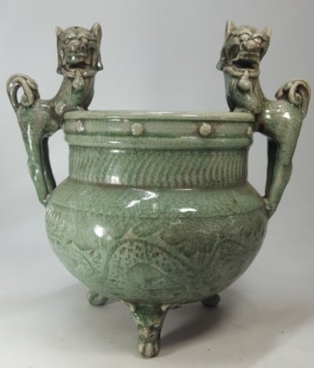 Chinese Incense Burner with Animal Handles and Foots