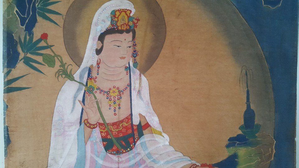 Chinese Scroll Hand Painting of Guanyin - 3