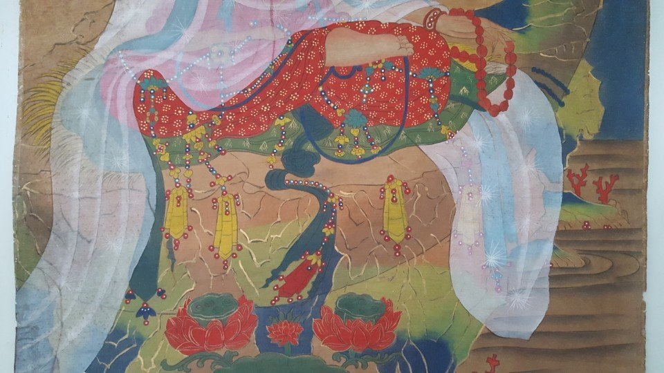 Chinese Scroll Hand Painting of Guanyin - 4