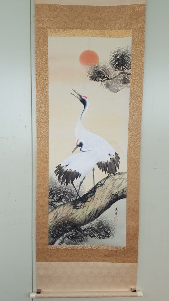 Chinese Scroll Hand Painting of Crane on Pine Tree