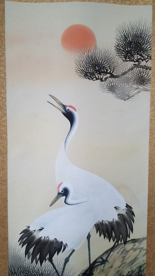 Chinese Scroll Hand Painting of Crane on Pine Tree - 2
