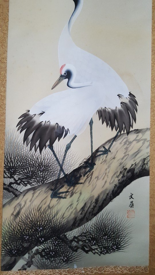 Chinese Scroll Hand Painting of Crane on Pine Tree - 3