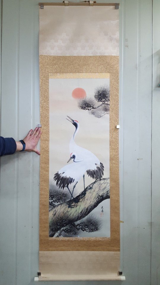 Chinese Scroll Hand Painting of Crane on Pine Tree - 5