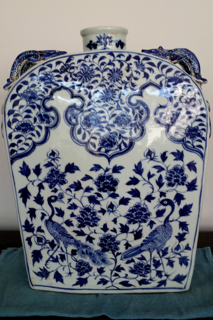 Chinese blue&white Square Moon Flask Vase