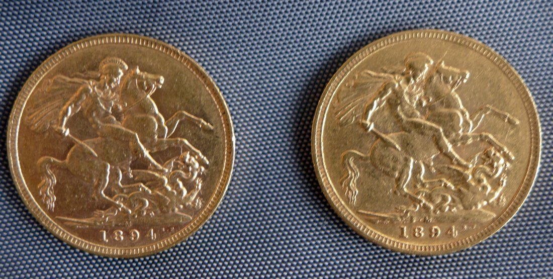 Great Britain 1894 two Gold coins . Sovereigns