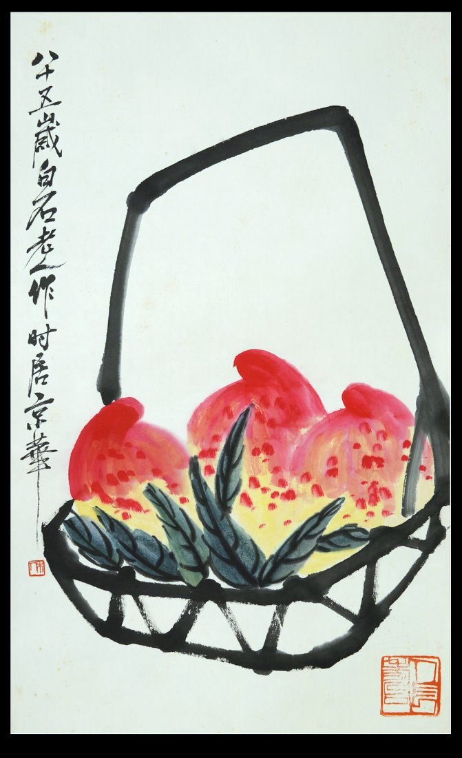 Chinese original fruit painting by Qibaishi(1864-1957)