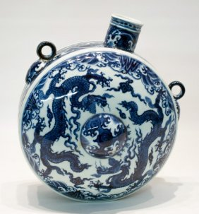 Chinese Ming d. blue&white porcelain moon flask