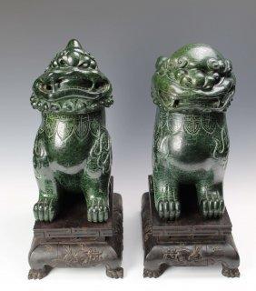 A Pair Of Jadeite Pi Xiu Censer