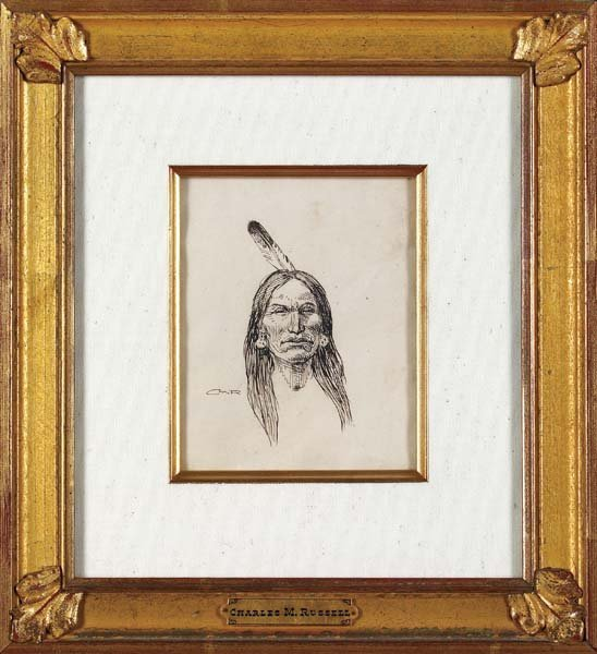 5: C M Russell Signed Pen & Ink