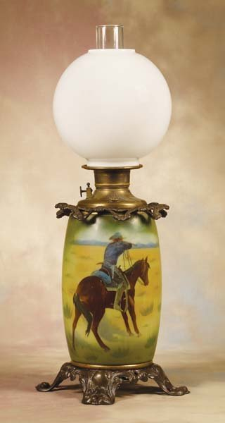 21: 19th Century Victorian Pictorial Table (Oil) Lamp