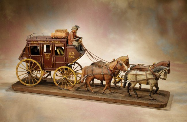 1: Hand Carved Vintage Wooden Stagecoach