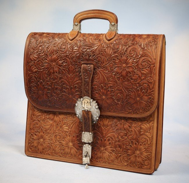 15: Exquisite Murray Studios Floral Carved Leather Brie