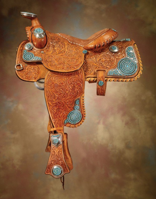 22: Silver & Turquoise Mounted Saddle with Breast Colla
