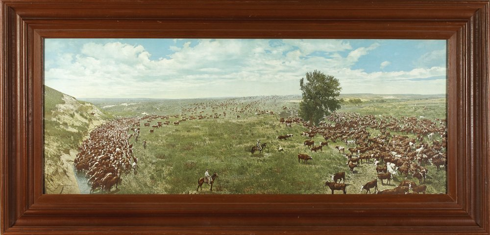 19: Vintage Hand Colored Large Cattle Drive Photograph