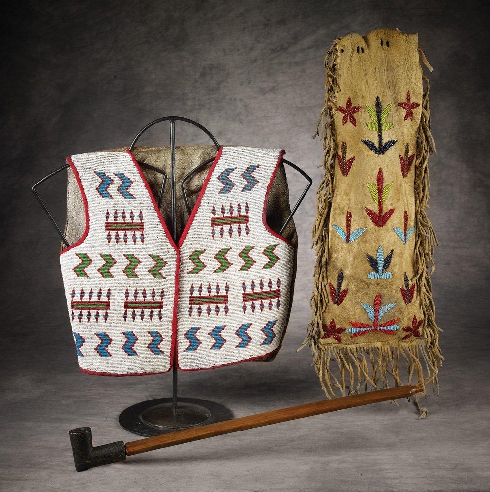 166: Blackfeet Beaded Pipe Bag, Vest & Pipe
