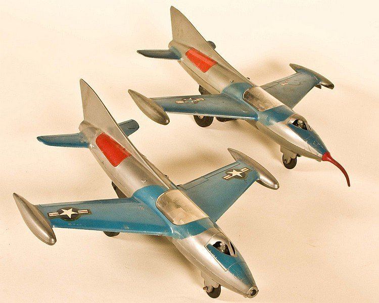 2 Marx Friction Jet Fighters 14 inch wing span
