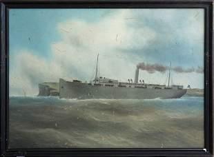 Artist Unknown WWI Troopship departing Sydney.