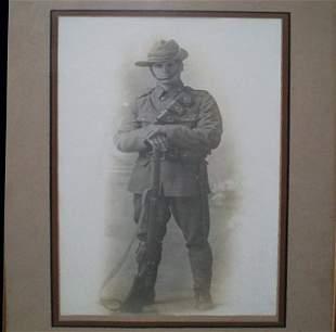 Framed Photograph Portrait of WWI Digger