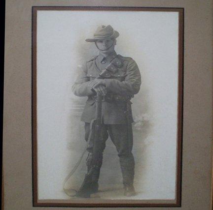 12: Framed Photograph Portrait of WWI Digger
