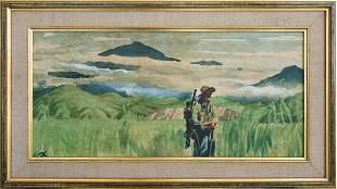 Watercolour By W Pidgeon Australian Troops N Guinea