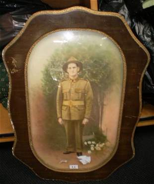 Framed Coloured Photograph Of WWI Soldier