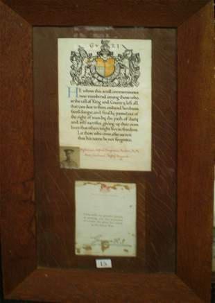 WWI Framed Remembrance Scroll Riflemen A B Booker