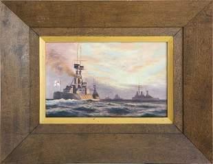 Pr Oil Paintings - Battle of Heligoland Bight