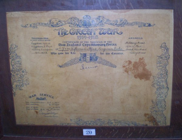 20: Framed Great War Certificate Of Service
