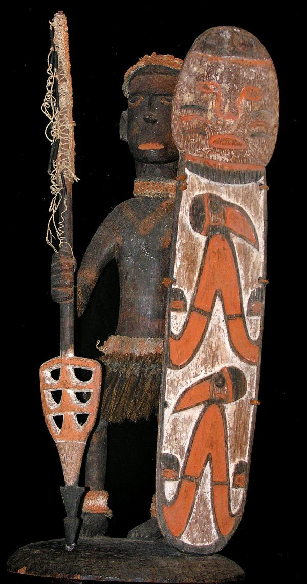 2105: Asmat Figure Holding Spear and Shield