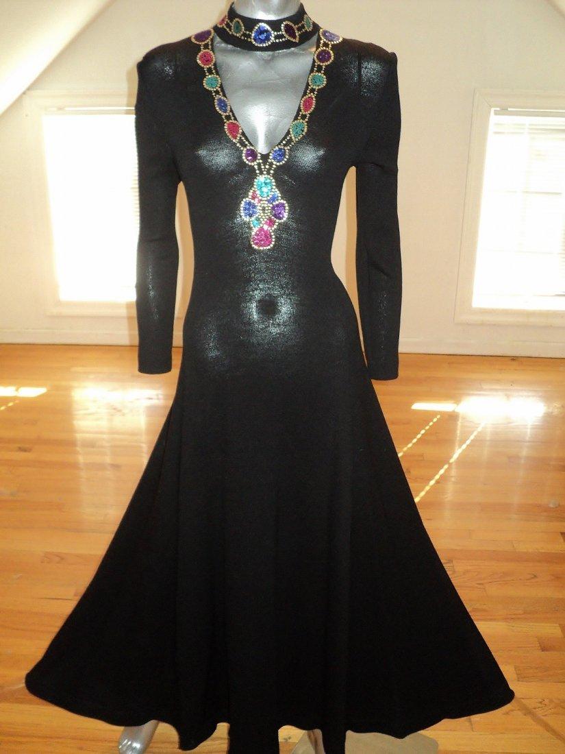 St. John Evening Maxi Gown Embellished Illusion Bodice