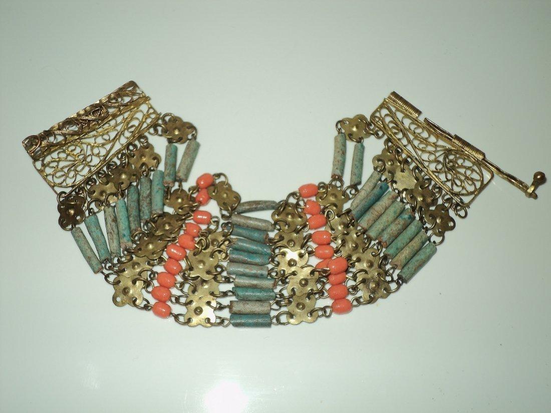 Egyptian Revival Metal Bracelet Filigree Coral/Aqua