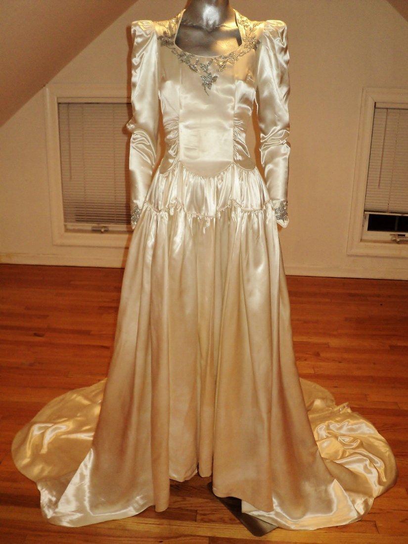 1930 Bridal Gown Peau de Soie Long Train Silver Flowers